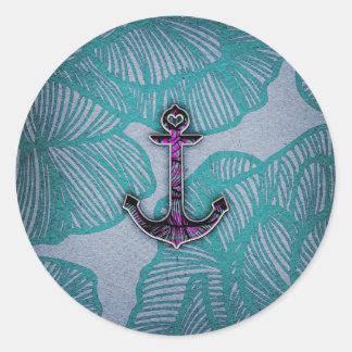 Ancla azul y púrpura de papel floral de moda pegatina redonda