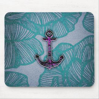 Ancla azul y púrpura de papel floral de moda tapetes de raton