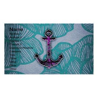 Ancla azul y púrpura de papel floral de moda tarjetas de visita