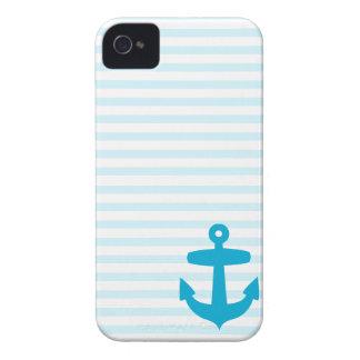 Ancla azul y rayas azules claras del marinero Case-Mate iPhone 4 fundas