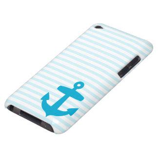 Ancla azul y rayas azules claras del marinero iPod Case-Mate cárcasa