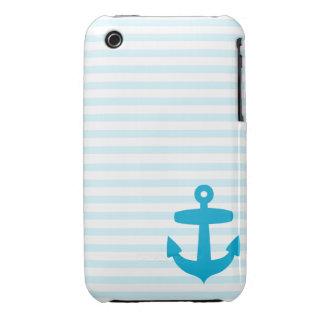 Ancla azul y rayas azules claras del marinero iPhone 3 Case-Mate funda