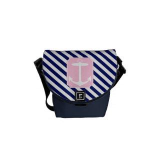 Ancla azul y rosada bolsa de mensajeria