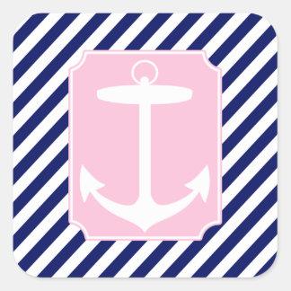 Ancla azul y rosada pegatina cuadrada