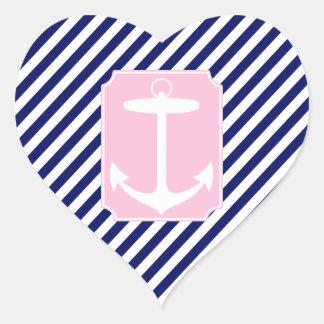 Ancla azul y rosada pegatina en forma de corazón