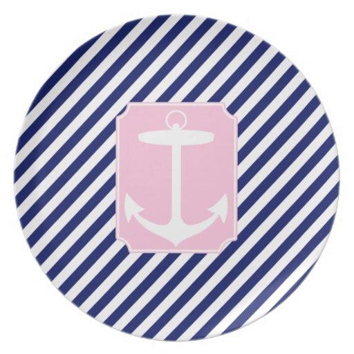 Ancla azul y rosada plato para fiesta