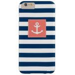 Ancla blanca de las rayas de los azules marinos funda de iPhone 6 plus barely there