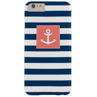 Ancla blanca de las rayas de los azules marinos funda para iPhone 6 plus barely there