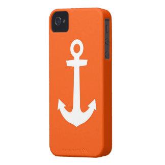 Ancla blanca del caso de IPhone en rojo iPhone 4 Case-Mate Protectores