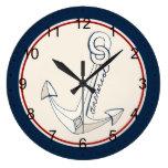 Ancla blanca náutica reloj de pared