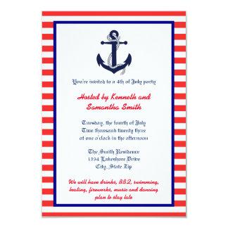 Ancla blanca y azul roja - invitación del fiesta