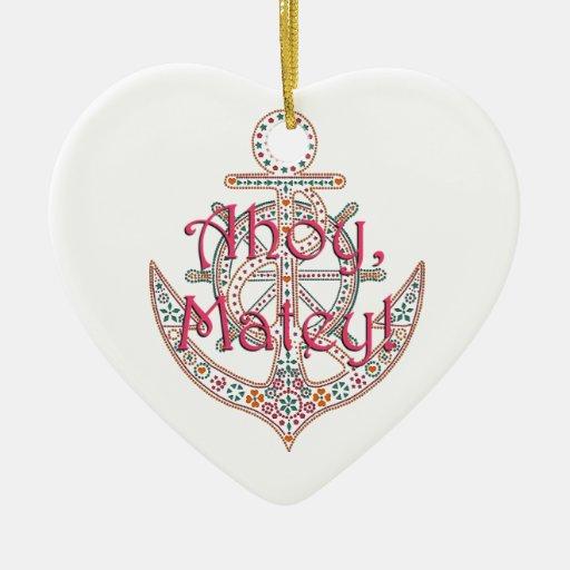 Ancla bonita adorno navideño de cerámica en forma de corazón