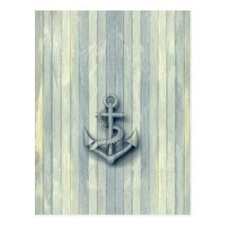 Ancla con clase náutica del vintage tarjeta postal