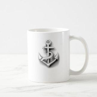 Ancla con clase náutica del vintage taza básica blanca