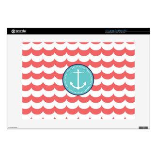 Ancla con el modelo de ondas coralino 38,1cm portátil calcomanías