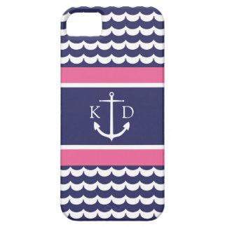 Ancla con las ondas y marina de guerra y rosa del iPhone 5 carcasas