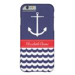 Ancla con las ondas y nombre de encargo en marina funda de iPhone 6 barely there