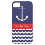 Ancla con las ondas y nombre de encargo en marina  iPhone 5 Case-Mate carcasa