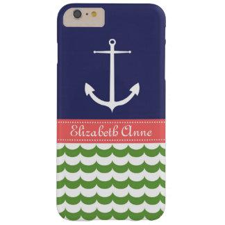 Ancla con las ondas y nombre de encargo en marina funda de iPhone 6 slim
