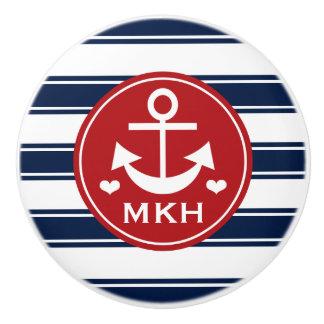 Ancla con monograma del rojo y de la marina de pomo de cerámica