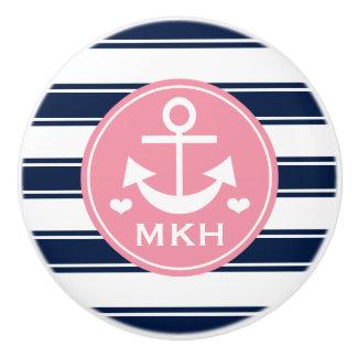 Ancla con monograma del rosa y de la marina de pomo de cerámica