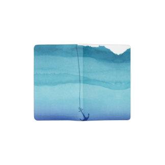 Ancla de hundimiento linda en acuarela del azul libreta de bolsillo moleskine