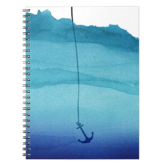 Ancla de hundimiento linda en acuarela del azul libro de apuntes con espiral