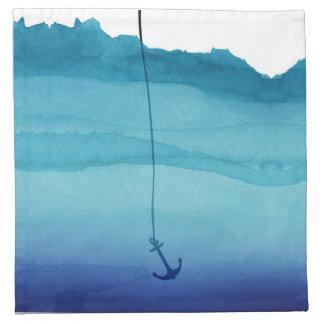 Ancla de hundimiento linda en acuarela del azul servilleta