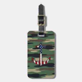 Ancla de la bandera americana en Camo Etiquetas Maletas