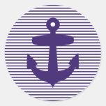 Ancla de la marina de guerra con las rayas azules etiquetas redondas