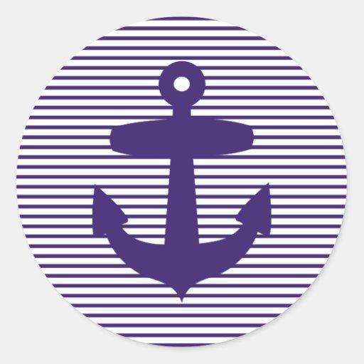 Ancla de la marina de guerra con las rayas azules  etiquetas