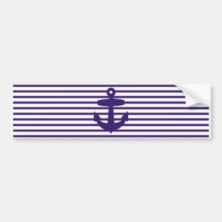Ancla de la marina de guerra con las rayas azules  pegatina para auto