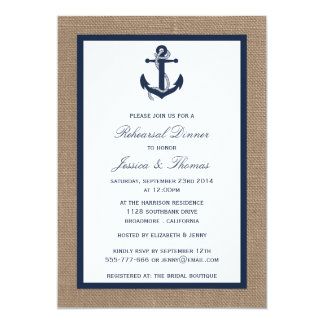 Ancla de la marina de guerra en cena náutica del invitación 12,7 x 17,8 cm