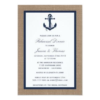 """Ancla de la marina de guerra en cena náutica del invitación 5"""" x 7"""""""