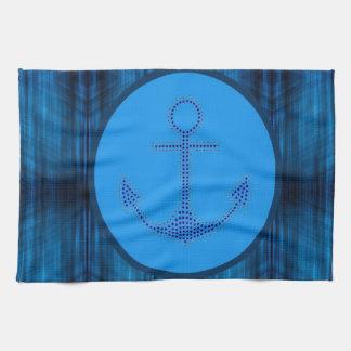 ancla de la nave de los azules marinos de la playa toalla de mano