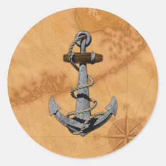 Ancla de la nave pegatina redonda