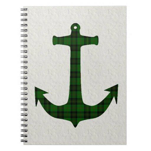 Ancla de la tela escocesa de tartán de Forbes Libro De Apuntes Con Espiral