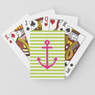 Ancla de las rosas fuertes de la verde lima náutic baraja de póquer