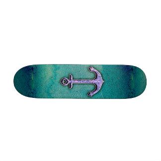 Ancla de moda del corazón de la acuarela del azul  tabla de patinar