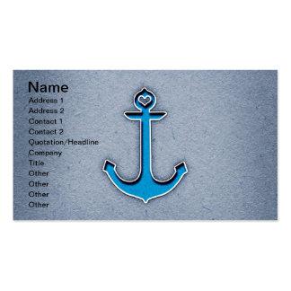 Ancla de moda linda del corazón del papel azul tarjeta personal