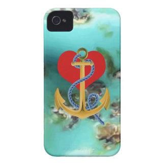 Ancla del amor en-uno el fondo MultipleGifs de la Case-Mate iPhone 4 Coberturas