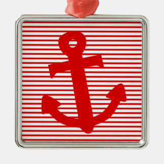 Ancla del barco adorno cuadrado plateado