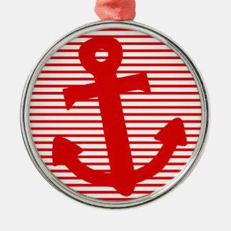 Ancla del barco adorno redondo plateado