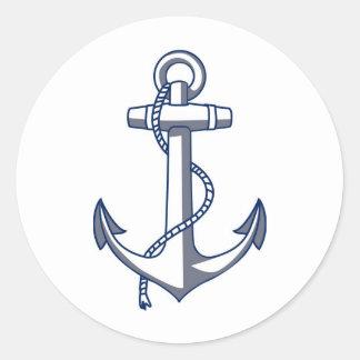 Ancla del buque Ancla del barco Classic Round Sticker