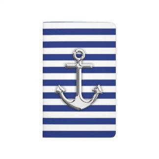 Ancla del cromo en rayas de la marina de guerra cuadernos grapados