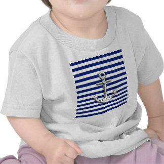 Ancla del cromo en rayas de la marina de guerra camiseta