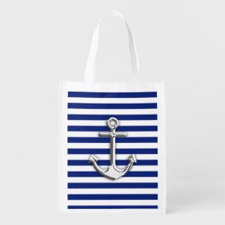 Ancla del cromo en rayas de la marina de guerra bolsas de la compra
