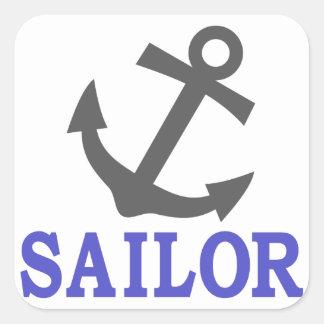 Ancla del marinero pegatina cuadrada