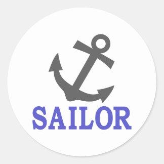 Ancla del marinero pegatina redonda