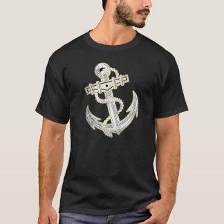 Ancla del oro del vintage, la camiseta negra de